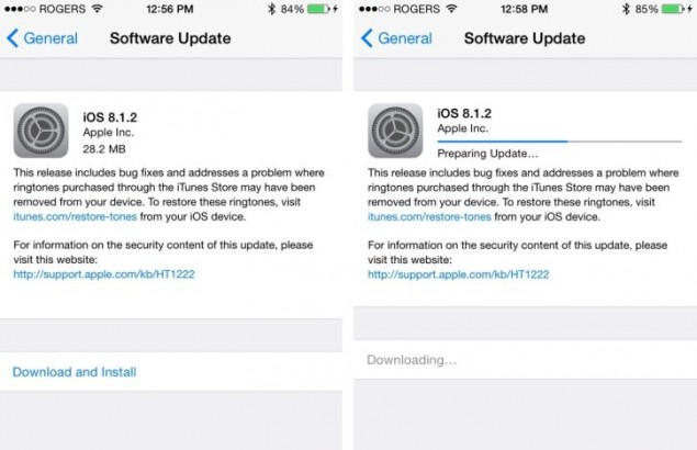 Apple is Pushing – Out the Update iOS 8.1.2