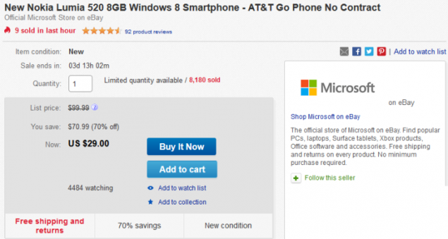 The Famous Entry-Level Nokia Lumia 520 Costs $29 on eBay