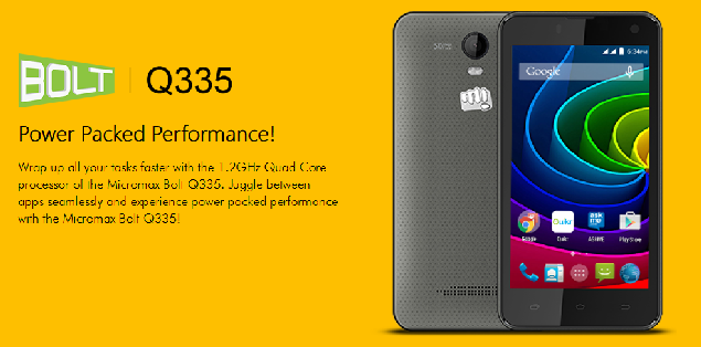 Micromax Bolt Q335 is Listed in the Company's Website