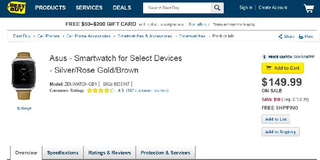 Asus ZenWatch is offered for $149.99 in Best Buy in the US