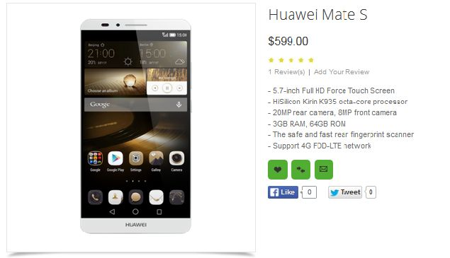 Huawei Mate S is a Phablet with Force Touch Tech, Rumors Say