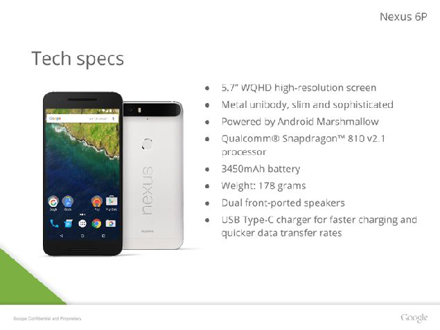 Huawei Nexus 6P with more details on specs and design
