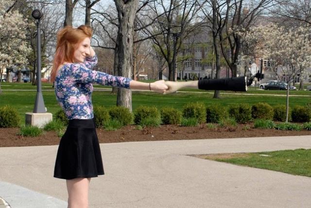 Selfie sticks as hands