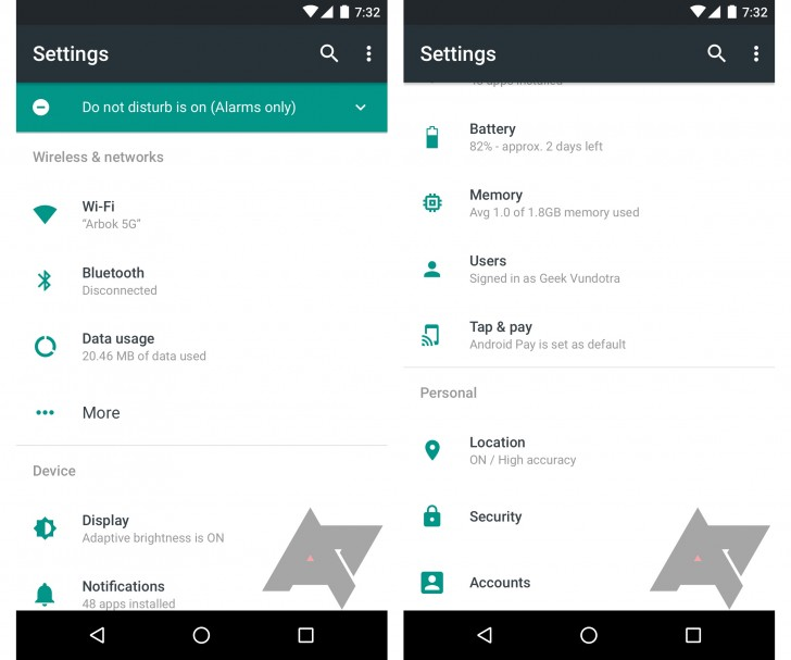 Mocked up screenshots of the Settings app of the Android N surfaced on the web